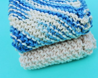 Handmade Dish Cloths - Blueberries + Cream - 100 Percent Cotton - Hand Knit Wash Cloths and Dish Cloths - Blue White