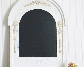 Ornate White Chalkboard Upcycled Antique Frame Arch