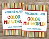 PRINTABLE - Kids Valentine Day Cards - You Color My World - Rainbow - Crayons - 3.5 x 4.5 - Personalized