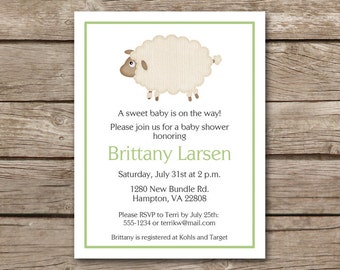 Sheep Baby Shower Invitation, Sheep Invitation, Lamb Baby Shower Invitation, Lamb Invitation, Sheep Shower, Lamb Shower, PRINTABLE