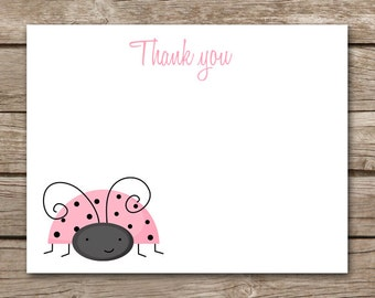 PRINTABLE - Ladybug Thank You Cards - Ladybug Birthday - Pink - INSTANT DOWNLOAD