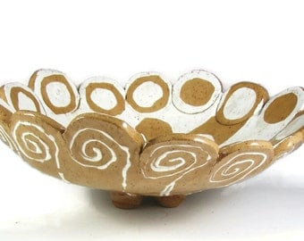 Large Pottery Bowl - Handmade Clay Bowl- Ceramic Bowl - Wheel Thrown Stoneware Centerpiece - Ready to Ship