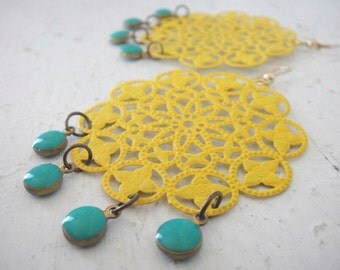 Boho Sunny Yellow Painted Filigree Chandelier Earrings with Teal Enamel Drops, on Gold Fill Earrings