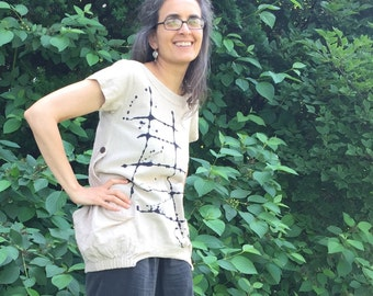 Ladder Tunic - ONE SIZE fits S-XL, fair trade cotton handmade tunic, nomad clothing, natural tea stained, grey top, asian style clothing