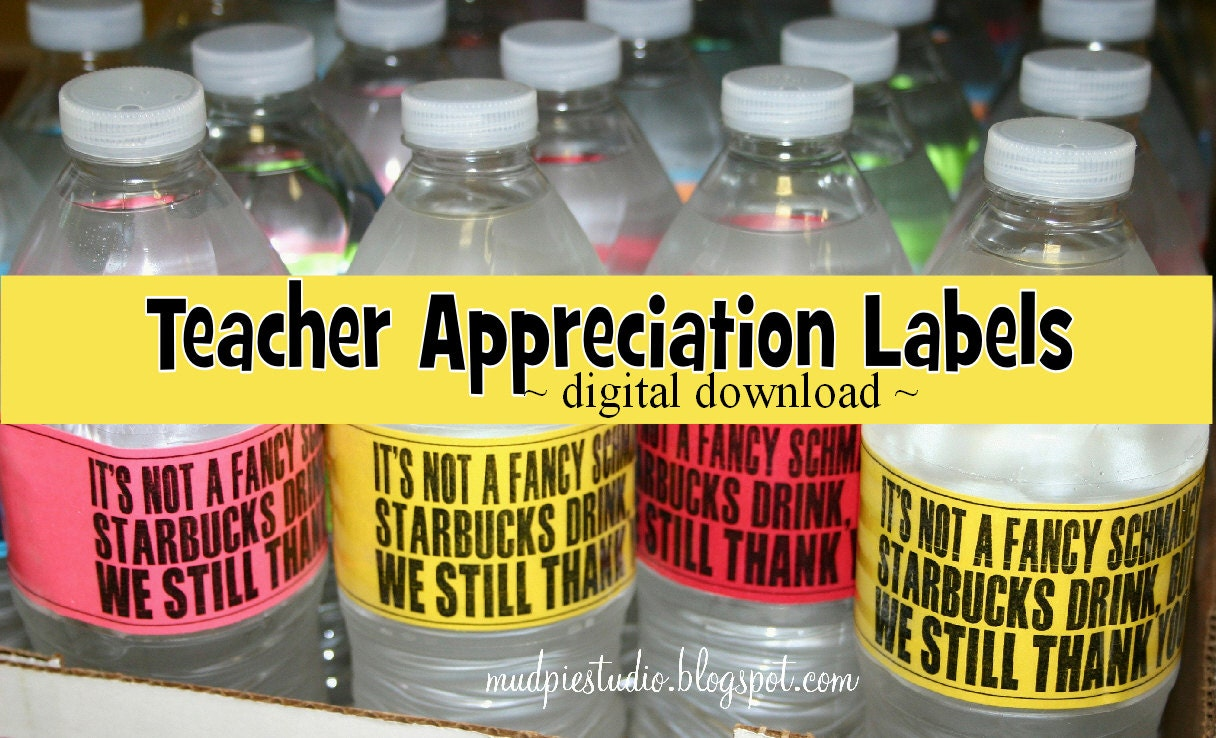 Teacher Appreciation Thank You Water Bottle by themudpiestudio