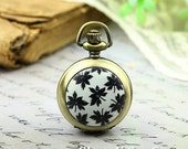 10% OFF SALE - 1pcs Personalized Handmade Antique Bronze / Silver Photo Pocket Watch Pendant / Charm (Black Leaf) -- HWK500F