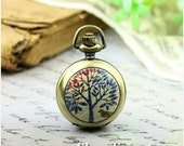 10% OFF SALE - 1pcs Personalized Handmade Antique Bronze / Silver Photo Pocket Watch Pendant / Charm (Blue Tree & Bird) -- HWK500Q