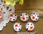 20% OFF SALE - Glass Cabochon, 8mm 10mm 12mm 14mm 16mm 20mm 25mm 30mm Round Handmade photo glass Cabochons  (star) -- BCH113A