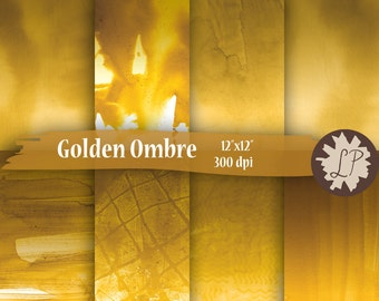 Gold Ombre Watercolor Printable Papers, hand painted, for blog backgrounds, etsy shop banners, mixed media, journaling, 12x12 scrapbook