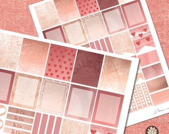 Rose Gold Valentine Planner Stickers, Pink Printable Planner Stickers, full box, half box, Planner Stickers, hearts for valentine's day