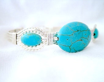 "Turquoise Flat Oval Sterling Silver Metal Wire Wrapped Bracelet 7"" to 7-1/2"""