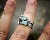 Grayson // Labradorite // Sterling Silver Stacking Ring, Boho made to order in your size, Gemstone metalwork by Bellalili