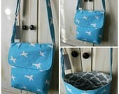 Messenger Bag - Purse - Tote - Blue and White - Birds