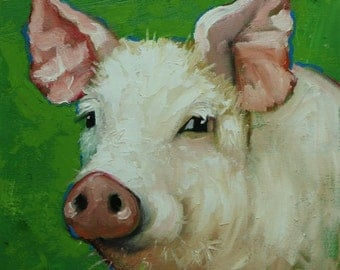 Pig painting 231 12x12 inch original oil painting by Roz