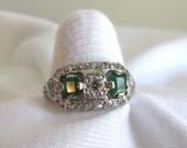 Antique Platinum Diamond and Emerald Size 7 Ring