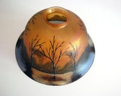 Glass Lamp Shade, Art Nouveau Lamp Shade, Orange Art Glass, Iridescent Glass, Antique Lighting, Painted Glass, Arts and Crafts Decor, Trees