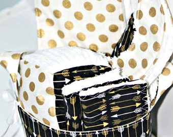 Black and Gold Arrow Baby Gift Basket---- Burp Cloth, Bib, Rattle Block, Wash Cloth Set and Fabric Basket