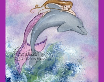 Leap Mermaid & Dolphin Canvas Print from Original Watercolor Painting by Camille Grimshaw