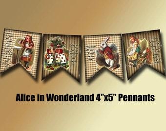 ALiCe in WoNDeRLaND PRiMiTiVe BaNNeR Pennants Flags-Printable digital collage sheet JPG Digital File-WhiMsiCAL art altered