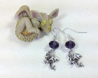 Purple Dragon Dangle Earrings