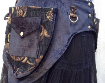 Black and gold steampunk pocket belt - steampunk festival utility belt - black chenille and gold vegan utility belt - Medium