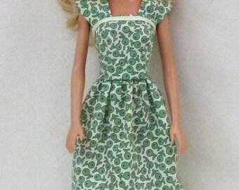 Green Print Fashion Doll dress for 1:6 scale dolls