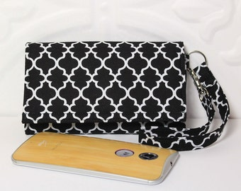 Cell Phone Smart Wallet Wristlet, Cell Phone Pouch, Purse Clutch, Fits All Smartphones, iPhone, Galaxy, LG, Nexus, Moto / Black Lattice