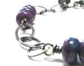 Purple beaded bracelet, purple turquoise bracelet, purple jewelry, southwestern, western turquoise, casual bracelet rustic