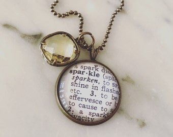 Sparkle Definition Charm Necklace Personalized Brass Map Jewelry - Vintage Dictionary Jewelry