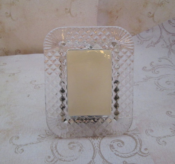 Vintage Crystal Picture Frame 1980s Small Picture By TheBeadSource
