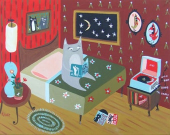 "Cat Plays Records Painting - Whimsical Folk Art w Record Player Music Birds Cardinals Original Grey Cat Artwork Wall Decor 11""x14"" on Canvas"