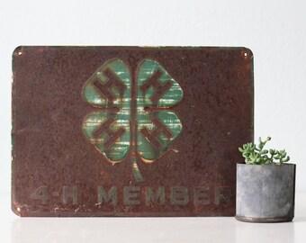 Vintage 4H Member Sign
