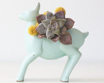 Vintage Deer Planter, Retro Turquoise Deer