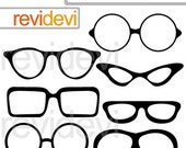 30% OFF SALE Glasses clipart - glasses silhouette clipart - digital images - instant download