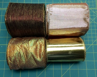 """Wired Edge Ribbon 4"""" Wide - Gold Brown Maroon Pink"""