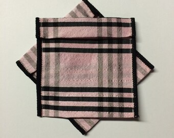 Jewelry Bead Pouches - 7 black pink plaid 4 x 3 1/2