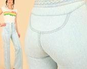 ViNtAgE 70's Bell Bottoms Jeans Super High Waisted Waist Faded Denim Bells Hippie Boho Bohemian 27