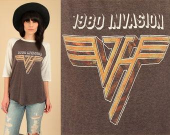 ViNtAgE 80's Van Halen T-Shirt THREADBARE 1980 Invasion U.S. Tour Soft Thin Faded Black Rock Concert Tee Large L