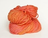 PINK GRAPEFRUIT, grey label merino alpaca hand dyed chunky weight yarn