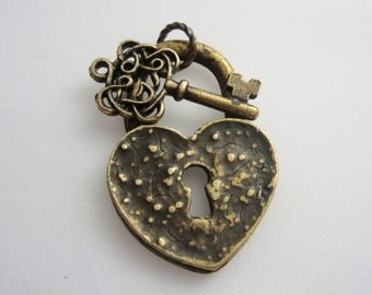 Heart Lock and Key Custom Pendant Supply or Completed Necklace, Handmade, Metal Bonded NOT Glued Together, Your Choice Supply or Necklace