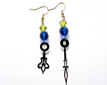Steampunk Clock Hand Earrings - Vibrant Deep Blue and Lime Green