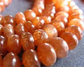 AAA Gorgeous Sparkling Sunstone smooth polished rondelles - 4 1/2 inches - beads - 7.5mm X 6mm