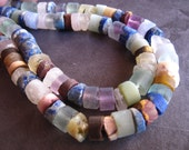 Rough Natural Multi Stone heishe semiprecious stone beads - 8mm X 4mm  7 inches