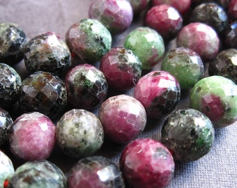 Ruby Zoisite beads - faceted rounds - 7mm - semiprecious gemstones - 6 1/2 inches