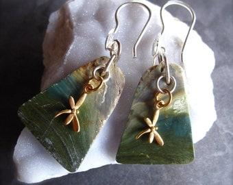 Gold Dragonfly Earthscape Gary Green Jasper Earrings - sterling silver, stone, gold plate