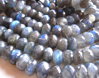 Labradorite beads Large Blue FIre faceted rondelles stone 9mm X 5mm - 8 inches