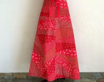 Vintage 70s patchwork wrap skirt