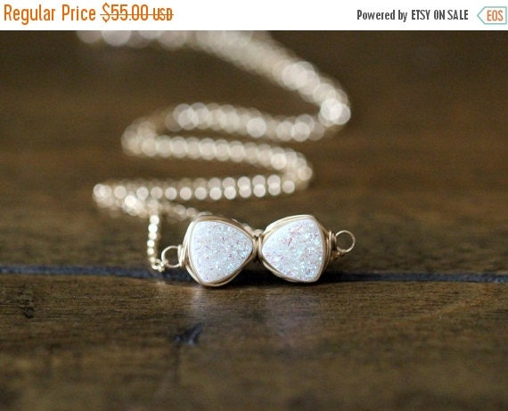 Bow Tie Necklace, White Cream Druzy Quartz In Silver, Gold, Rose Gold, Holiday Fashion - Tuxedo