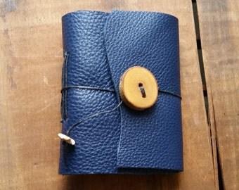 Dark Navy Leather, wood button,Small Handbound Leather Journal Book