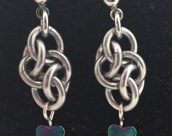 Rainbow Love - Cloud Cover Chainmaille Earrings with Rainbow Hematite Hearts